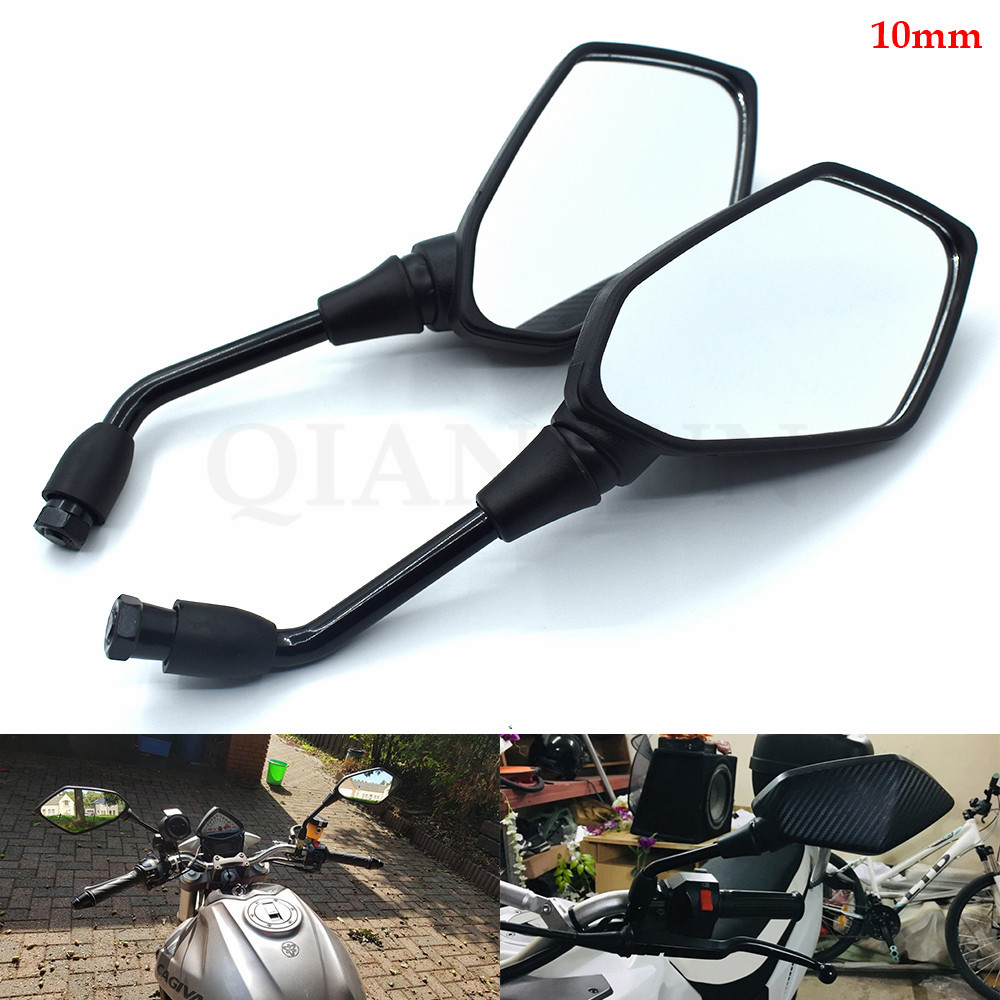 1 Pair Black Round Rearview Rear View Mirrors For Honda XR250 R All Models