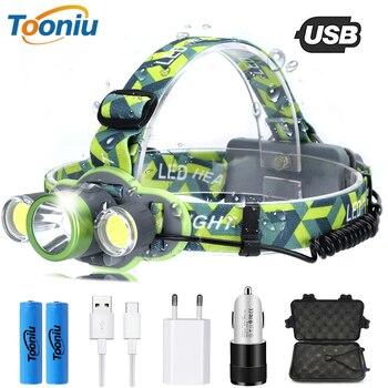 цена на USB charging headlight super bright T6 + 2COB LED headlamp 5 kinds of lighting mode waterproof outdoor searchlight fishing light