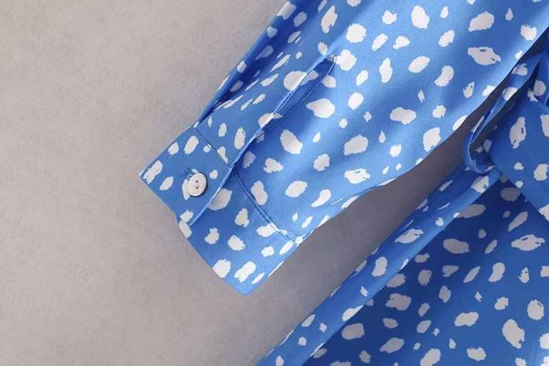 Зтк женские 2019 Для женщин модные Цветочный принт длинное платье женская голубая рубашка с отворотом и поясом, на пуговицах, шик в Корейском стиле; детская одежда; вечерние платья