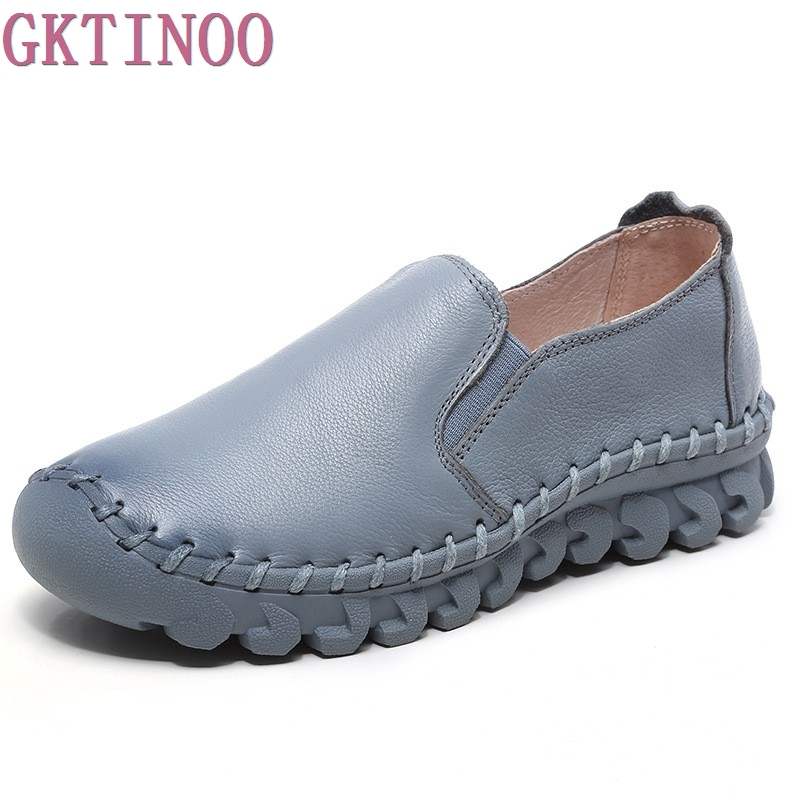 2018 new Women's Handmade Shoes Genuine Leather Flat slip-on Mother Shoes Woman Loafers Soft Single Casual Flats Shoes Women new style comfortable casual shoes men genuine leather shoes non slip flats handmade oxfords soft loafers luxury brand moccasins
