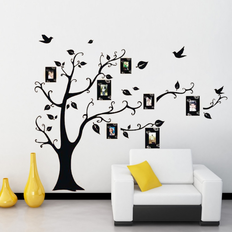 black photo tree wall stickers stencil piture frame family tree ...