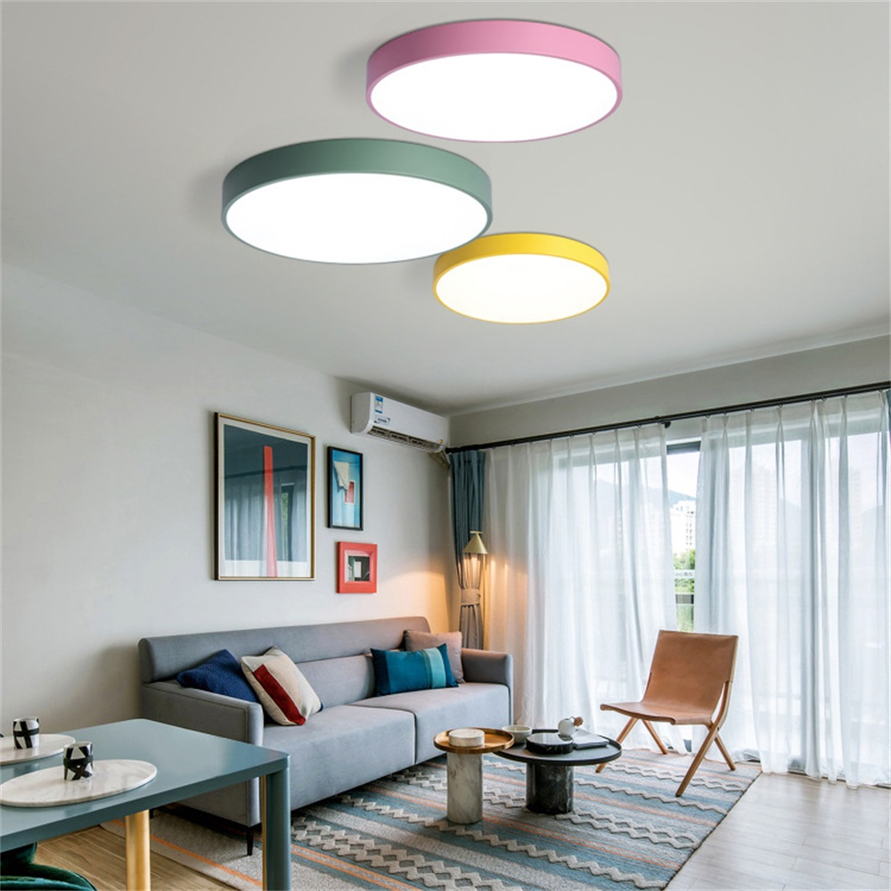 Us 7 46 35 Off Led Ceiling Lights 5cm Super Thin Round Lamp Macaron Color Home Decor Modern House Lighting Fixture In