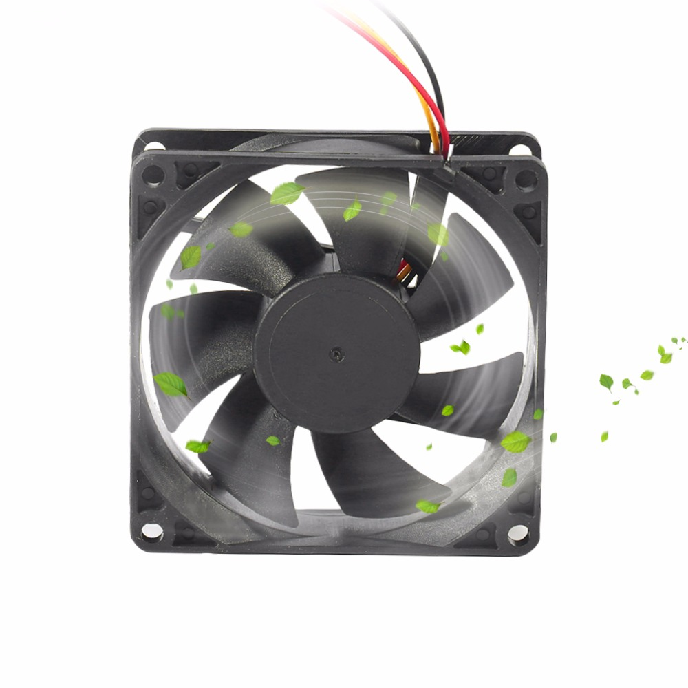 Professional 80MM Small 3pin Interface PC Computer Fan Silent DC 12V Chassis Fan CPU Cooling Fan Cooler Black pccooler 12cm computer case cooling fan quiet cpu and power cooler fan cooling radiator fan 120mm computer pc chassis fan silent