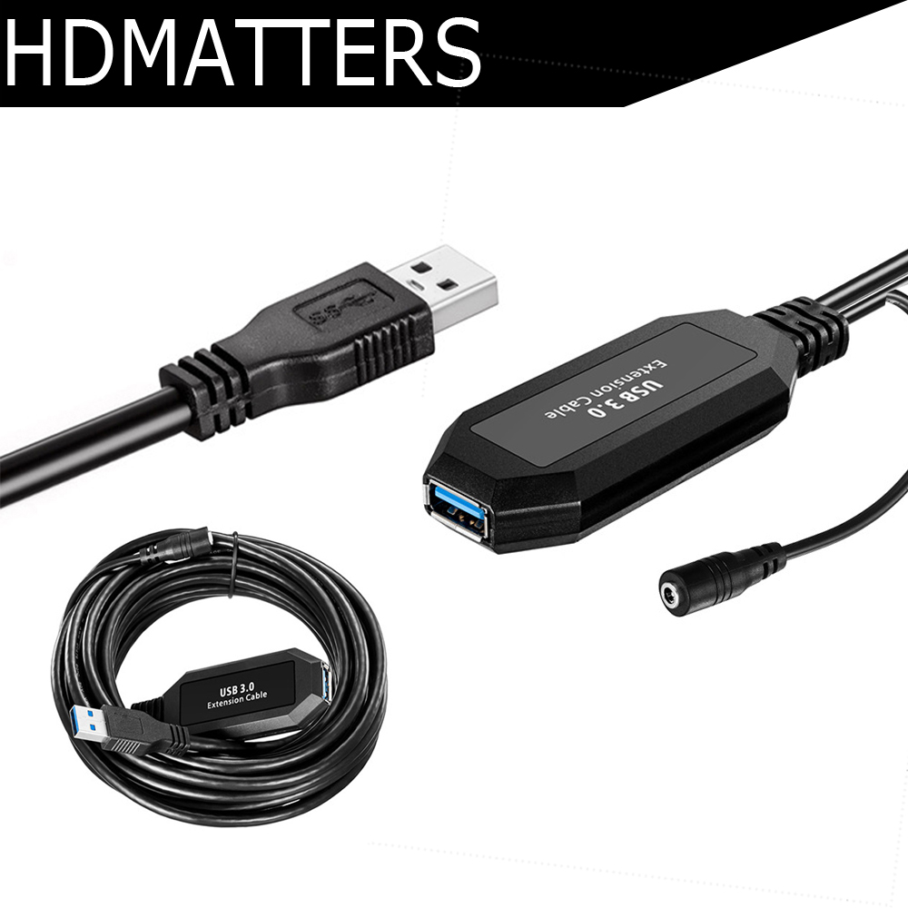 HDmatters Active USB 3.0 extension cable 5M cord USB 3.0 extender repeater cable A male to A female with booster цена и фото
