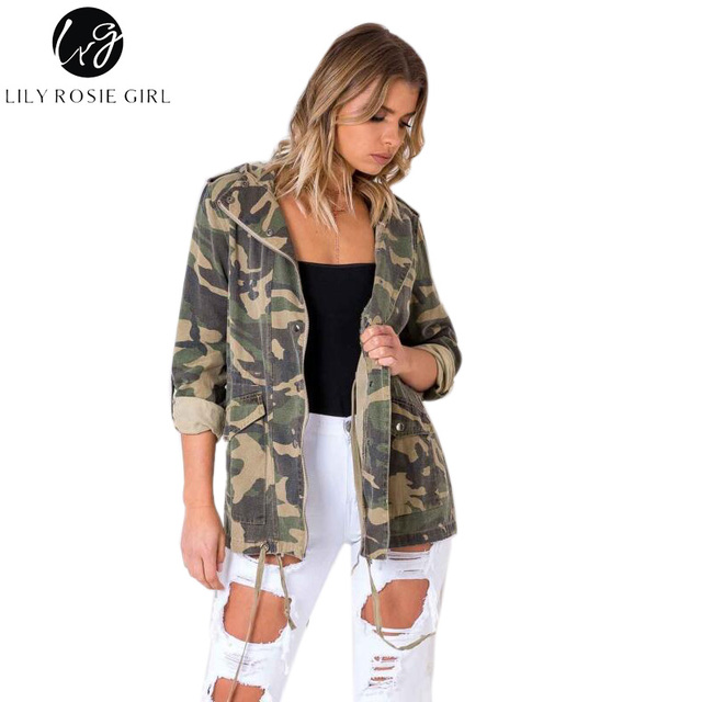 Lily Rosie Girl Casual Oversized Camo Parka Jacket Camouflage Womens Coats  Zipper Hooded Autumn Winter 2017 3f51422c10