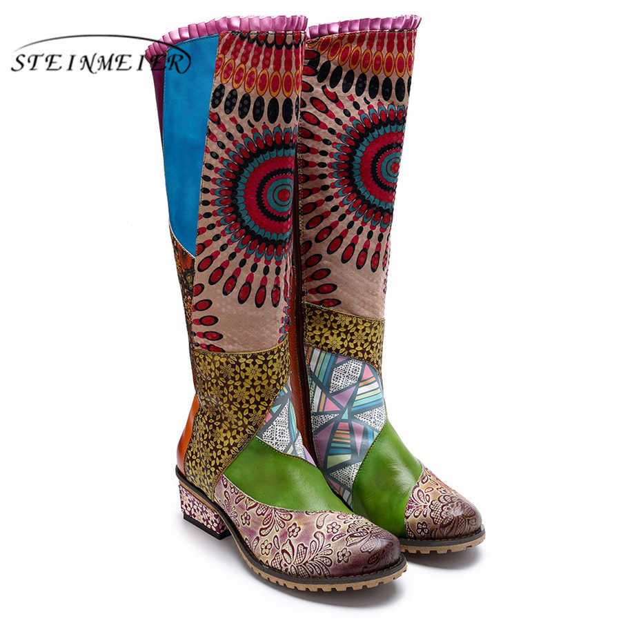 נשים חורף מגפי אמיתי פרה עור נוח באיכות רך נעליים בעבודת יד החם ארוך מגפיים מעל הברך אתחול ירוק
