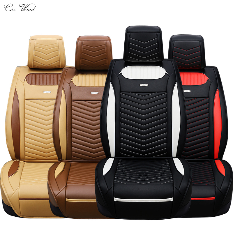 car wind Universal leather car seat covers Interior Accessories Luxury black red sport style 5 seats full set seat covers kkysyelva universal leather car seat cover set for toyota skoda auto driver seat cushion interior accessories