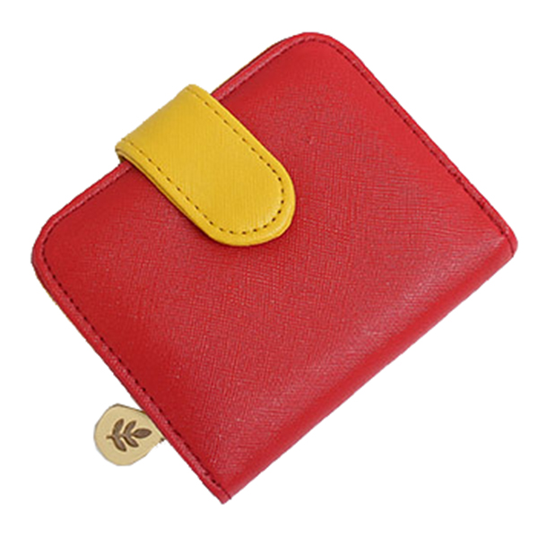 FGGS-Lady short paragraph cross strip multi-card bit zero purse zipper buckle wallet Red+yellow