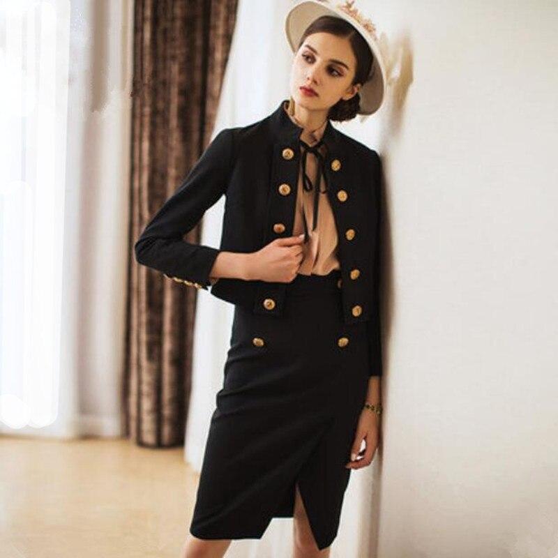 Women Skirt Suits Elegant Office Lady Vintage Double Breasted Blazer Coat Retro Casual Formal Work Two Piece Set Female Uniform