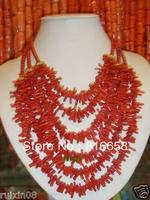 FREE SHIPPING>>@> HOT@@6 String Dense red coral Branches Handmade necklace