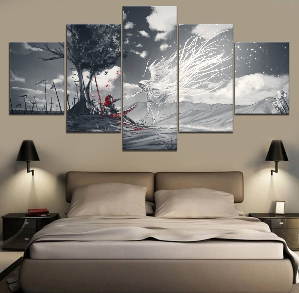 5 Piece Canvas Art RWBY Wall Painting Anime HD Print Modern Decorative For Living Room Artwork