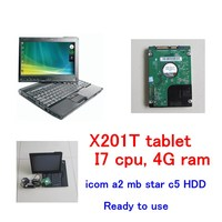 1TB HDD latest software with X201T tablet I7&4g diagnosis Laptop for bmw icom a2 b c and mb star sd connect c4 c5 software 2in1