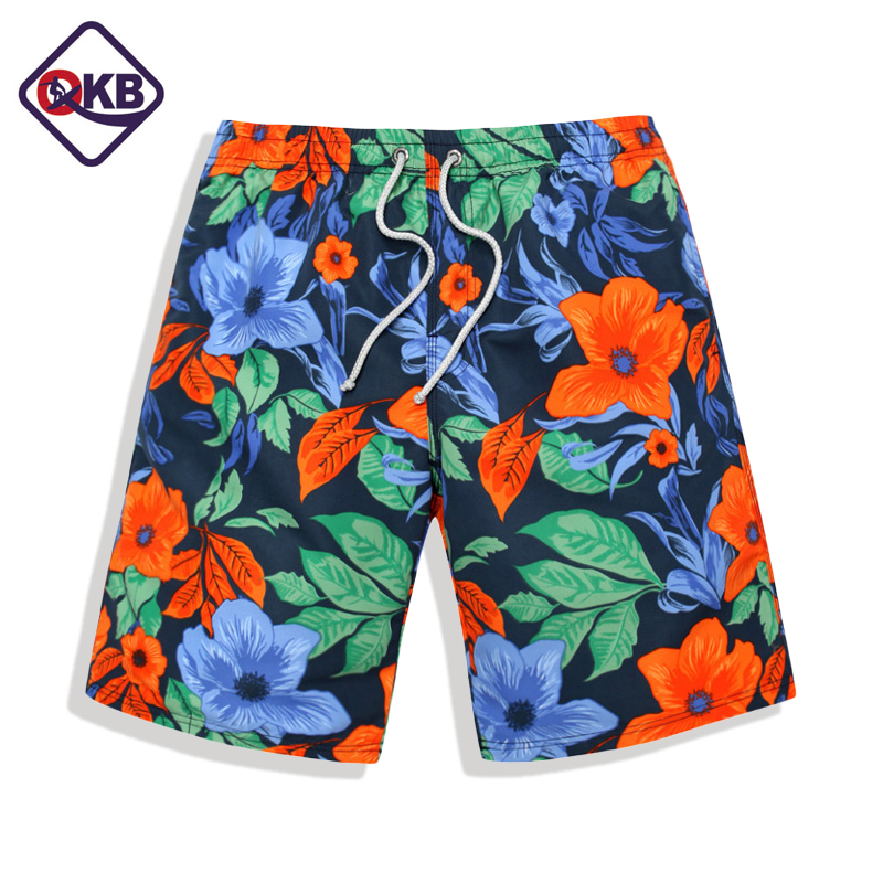 QIKERBONG Men's Beach   Board     Shorts   Quick Drying Men   Short   Bottoms Bermuda Custom Polyester Plus Big Size