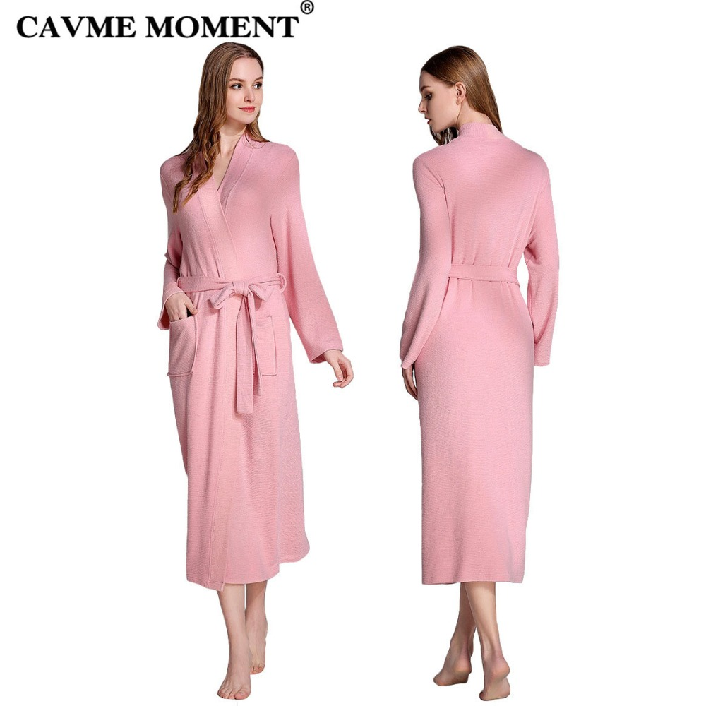 CAVME 2019 Plus Size Summer Long Robes for Women Pink Bathrobe Kimono Sleepwear Solid Color Robe Nightgown Night Dressing