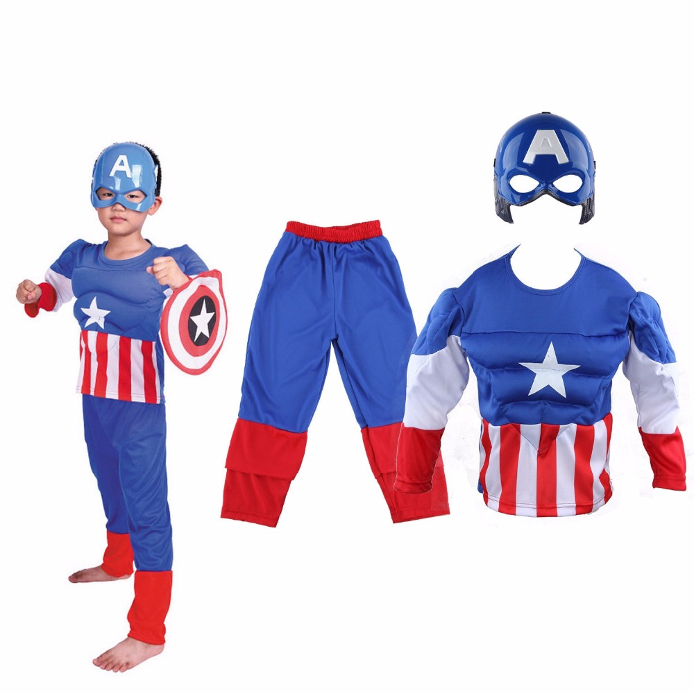 Boys Kids Captain America Superhero Muscle Costume Halloween Party Dress Gift