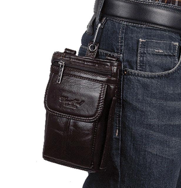 Mensajero Hombres Bolsa Paquete Pequeño de moda de Cuero Genuino Del Hombro de la Cintura Fanny Gancho