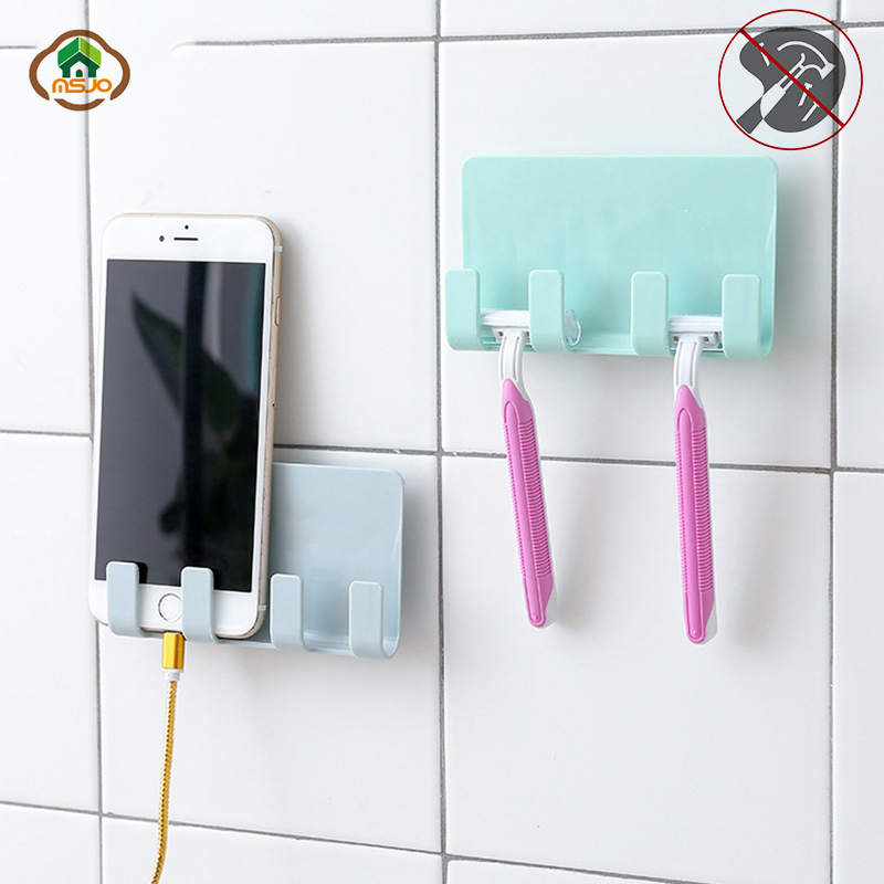 Msjo Mobile Phone Wall Charger Adapter Charging Holder Hanging Stand Bracket Bathroom PP Toothbrush Holder Shelf image