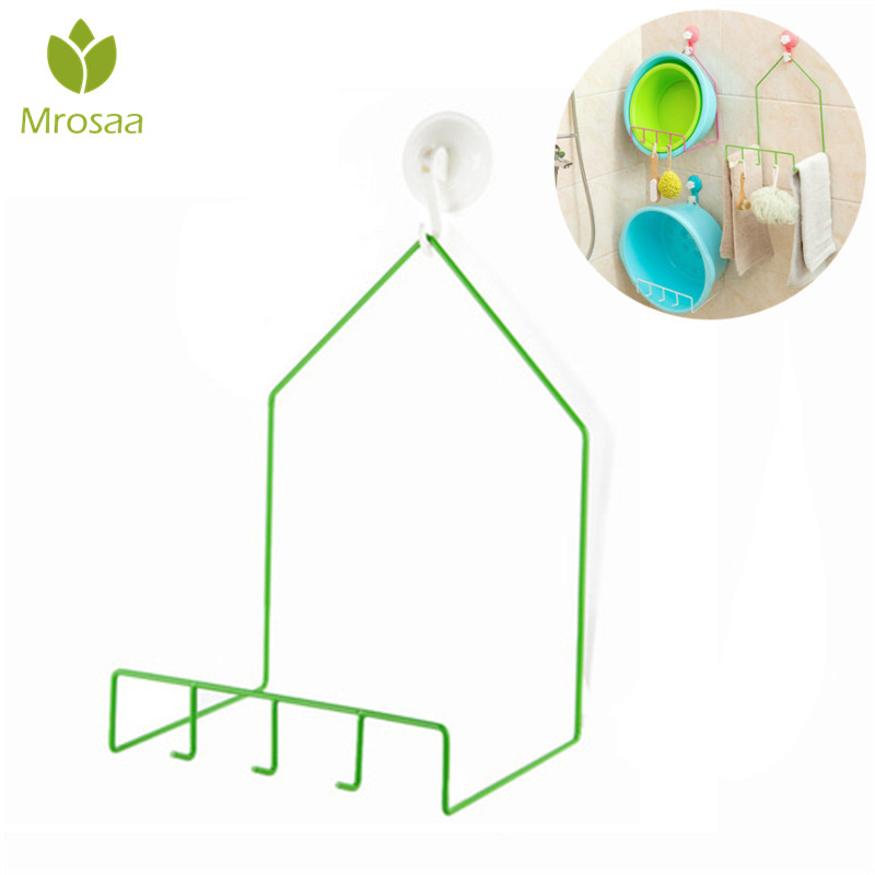 Bathroom Washbasin Storage Rack Hanging with Suction Cup Hooks Toilet Shelving Kitchen Vegatable Basin Free Nail Rack Hanger