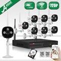 Plug And Play P2P 8CH NVR Sistema de CCTV Sem Fio 2 TB HDD 720 P HD 3 Matriz Ao Ar Livre WI-FI IP IR Câmera de Segurança De Vigilância Por Vídeo Kit