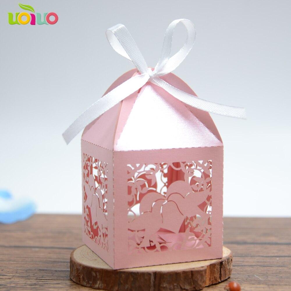 Прекрасный розовый лазерной резки бумаги голубь бумага подарочная коробка для свадьбы популярные свадебные сувениры поле