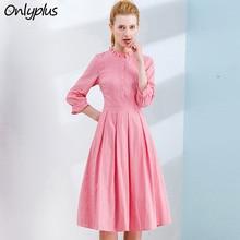 Onlyplus Women Cotton Dress Pink High Quality Slim Elegant Party Dresses Autumn New Design Button Sweet Fashion Female Vestidos