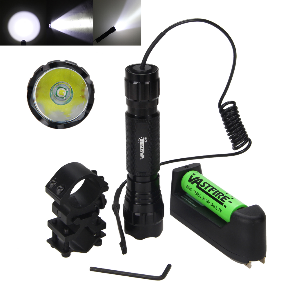Tactical Flashlight 5000 Lumen XML T6 LED Torch Light Portable Hunting Camping Torch Light +Mount +Remote Switch +Battery Set tactical zoomable 5000lm xml t6 led flashlight torch hunting light lamp pressure switch battery
