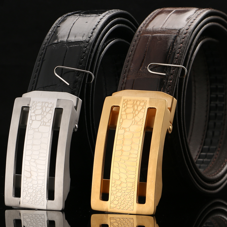 [BATOORAP] 2018 Real High Quality Men Belt Automatic steel buckle Crocodile leather Belts Luxury Brand Designer Belts Black men automatic buckle real cowhide cross double stitched leather belt