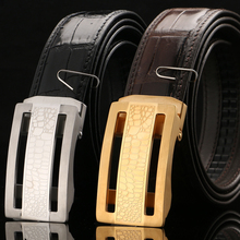 [BATOORAP] 2017 Real High Quality Men Belt Automatic steel buckle Crocodile leather Belts Luxury Brand Designer Belts Black/brow цены
