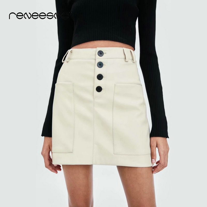 casual 2019 new Pu length women skirts mini solid color pocket button a line ladies skirt high waist skirt femme faldas mujer in Skirts from Women 39 s Clothing