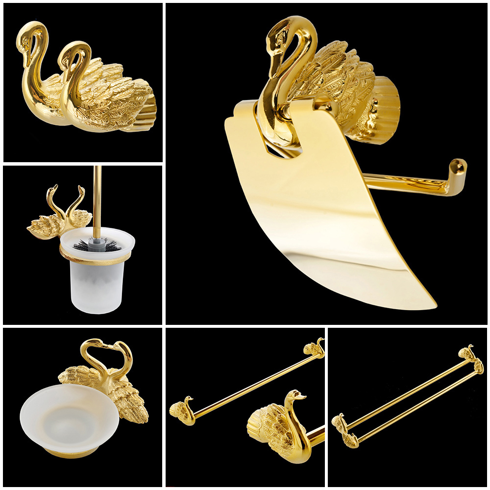 Bathroom Accessories Bath Hardware Set Golden Color Swan Toilet Paper Holder Towel Rack Tissue Holder Roll Paper Holder MB-0969A