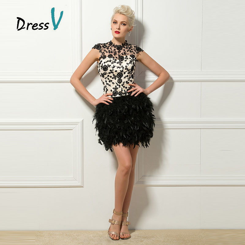 Dressv Black Short Feathers Cocktail Dresses Sexy Backless High Neck Cap Sleeves Lace Appliques Homecoming Party