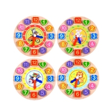 Cartoon Wooden Math Toys Colorful Puzzle Digital Geometry Clock Baby Educational beads string of toys