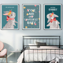 Nursery Rabbit Wall Art Canvas Painting Kids Baby Girl Room Decor Cartoon Nordic Poster Wall Pictures For Living Room Unframed цена
