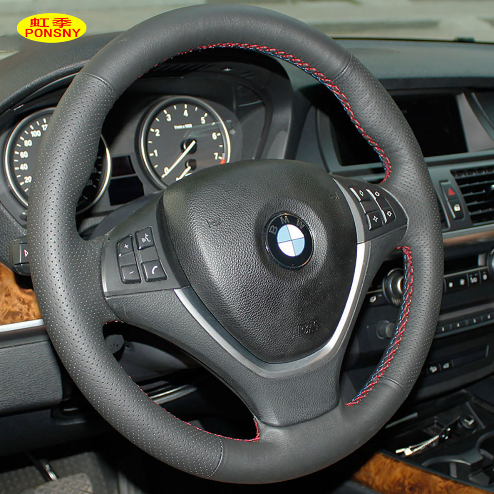 Online shop ponsny car steering covers case for bmw x5 x6 2010 2013 wheel cover genuine leather hand stithed black cover aliexpress mobile