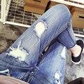 Плюс размер xl-5xl Мода Повседневная Женщины Плюс размер джинсы женские осенние Джинсы Отверстие длины лодыжки брюки Сексуальные Девушки Брюки