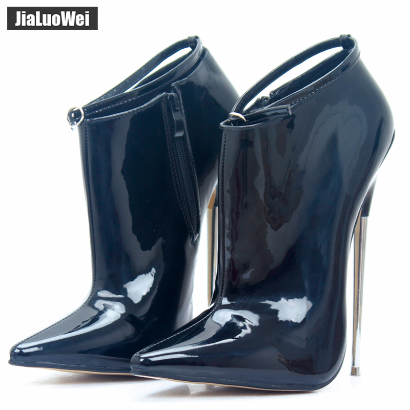 2018 Spring/Autumn Extreme High-heel 18cm Metal Spike Heels Pumps Pointed Toe stiletto Sexy Ankle Strap Party Dance Prom Shoes 18cm 7 stiletto fetish sharp toe mary janes ankle wrap high heel pumps spike metal high heel bondage bdsm latex high heels