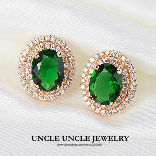 High Quality!!! Rose Gold Plated Luxury Green Crystal Micro Setting Retro Princess Woman Stud Earring Wholesale 18krgp
