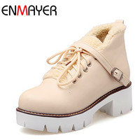 ENMAYER Winter Fashion Western Boots For Women Lace Up Buckle Strap Round Toe Square High Heels
