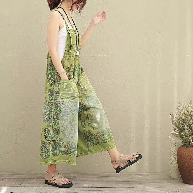 Pierna Las De Denim Overoles Casuales Marrón verde Vaqueros El Más Vintage Algodón Mezclilla Pantalones Mujeres Tamaño Ancha qnU4t4OHw