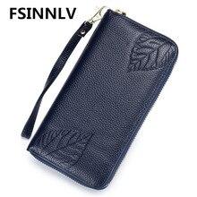 FSINNLV RFID Genuine Leather Wallet for Women Leaves Print Lady Long Wallets Women Purse Female Wallet Card Holder Clutch DC339