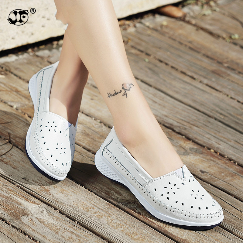 2018 Women Flats Ladies Slip-On Loafers Shoes Women Genuine Leather Casual Boat Shoes Party Flat Shoes Big Size new women genuine leather flat shoes round toe slip on women flats ladies casual flat shoes comfortable loafers size 22 26 5 cm