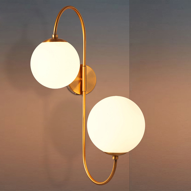 Nordic Minimalist Milky White Globe Glass Shade Wall Light 2 Lights ...