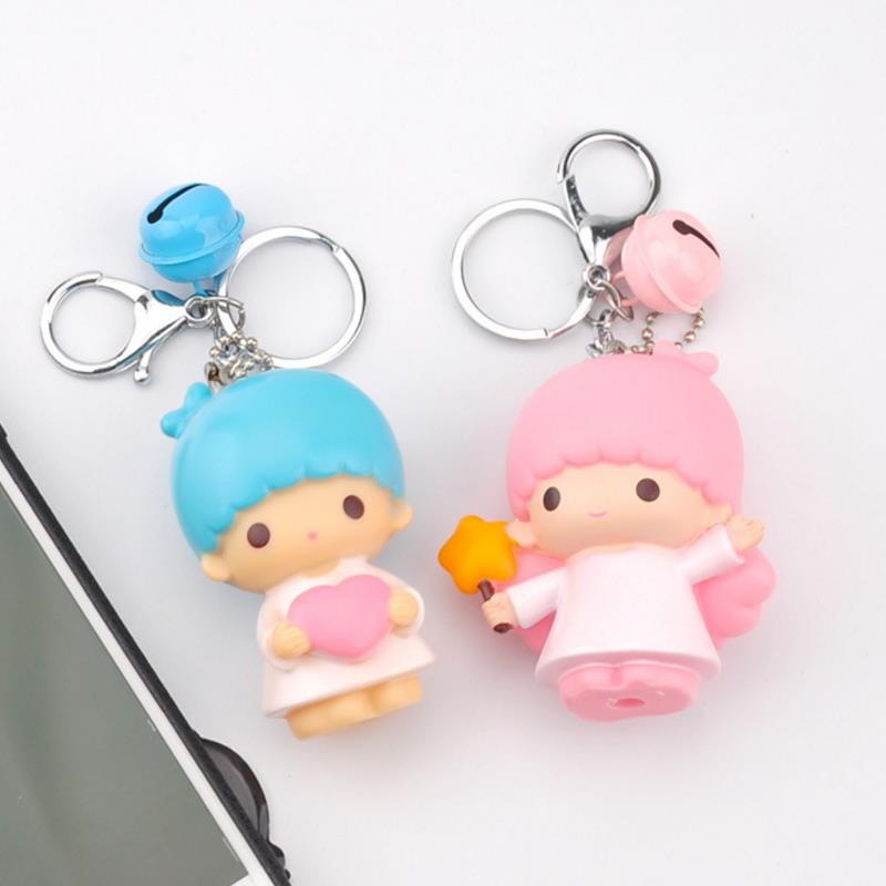 1 Pc Pretty Little Twin Stars resin Keychain Small Dolls Bell Key Bag Pendants Keyring Mini Anime Cartoon Doll Figure toys gift