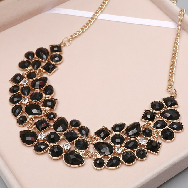 MINHIN New Popular 8 Colors Multicolor Big Pendant Clavicle Chain Necklace Women's Delicate Banquet Jewelry