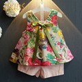 Floral Print Girls Children Clothes Suit Colorful Vest+Solid Short Pants Cute Bow Summer Baby Girl Clothing Sets Fashion Cotton