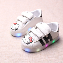 New Spring and Autumn Children's Colorful Luminous Shoes for Boys and Girls Led Cartoon Cat Casual Shoes Eur 21-30 YXX