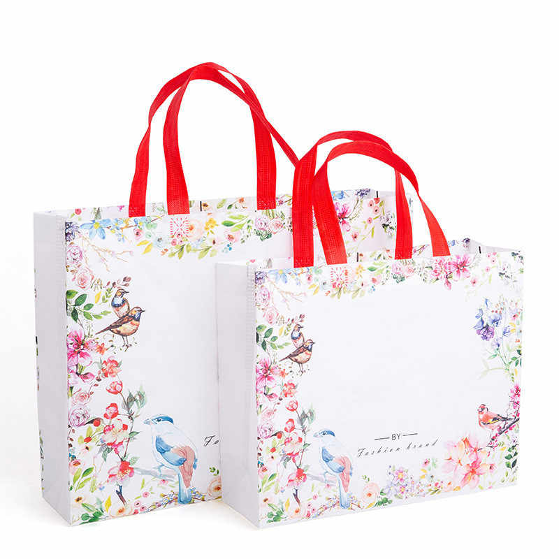 New Idyllic Flowers Foldable Non-woven Fabric Shopping Bag Reusable Tote Pouch Women Travel Storage Handbag Fashion Shoulder Bag