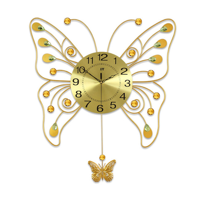 Geekcook Golden Butterfly Wall Clock Living Room Modern Simple Art ...