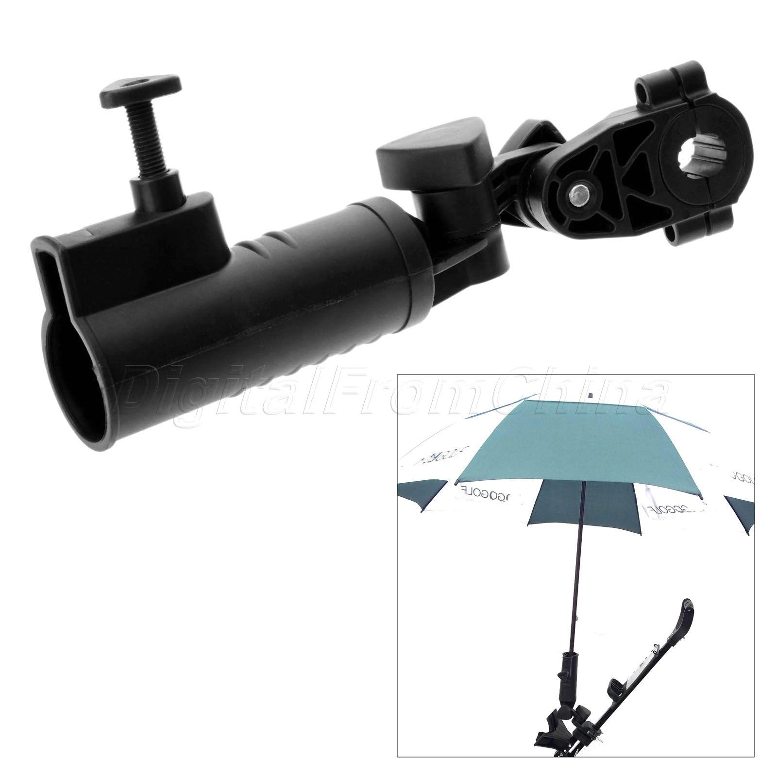 Convenient Plastic Universal <font><b>Golf</b></font> <font><b>Umbrella</b></font> Holder <font><b>Stand</b></font> For Buggy Cart Baby Pram Wheelchair Black <font><b>Golf</b></font> Training Aids Accessories image