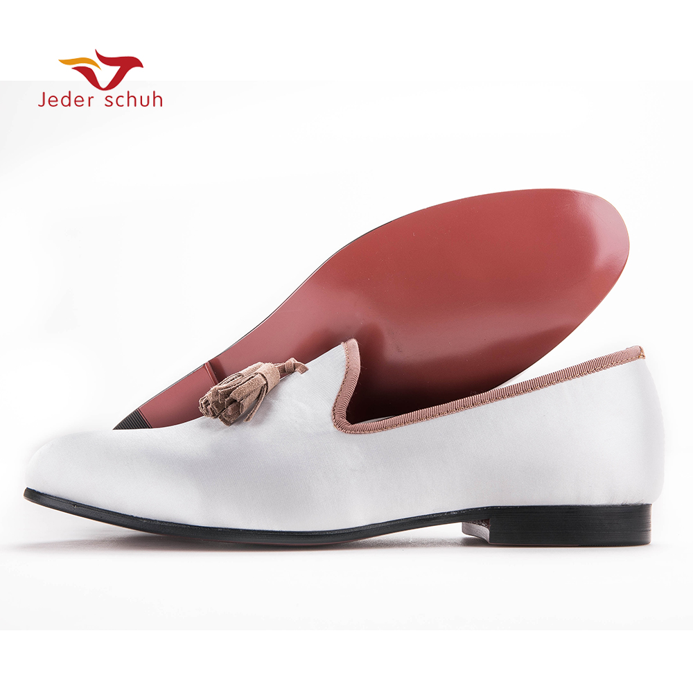 New white sequined cloth shoes with brown tassel fashion handmade men loafers wedding and party shoes men dress shoe men's flat new handmade men fashion party and